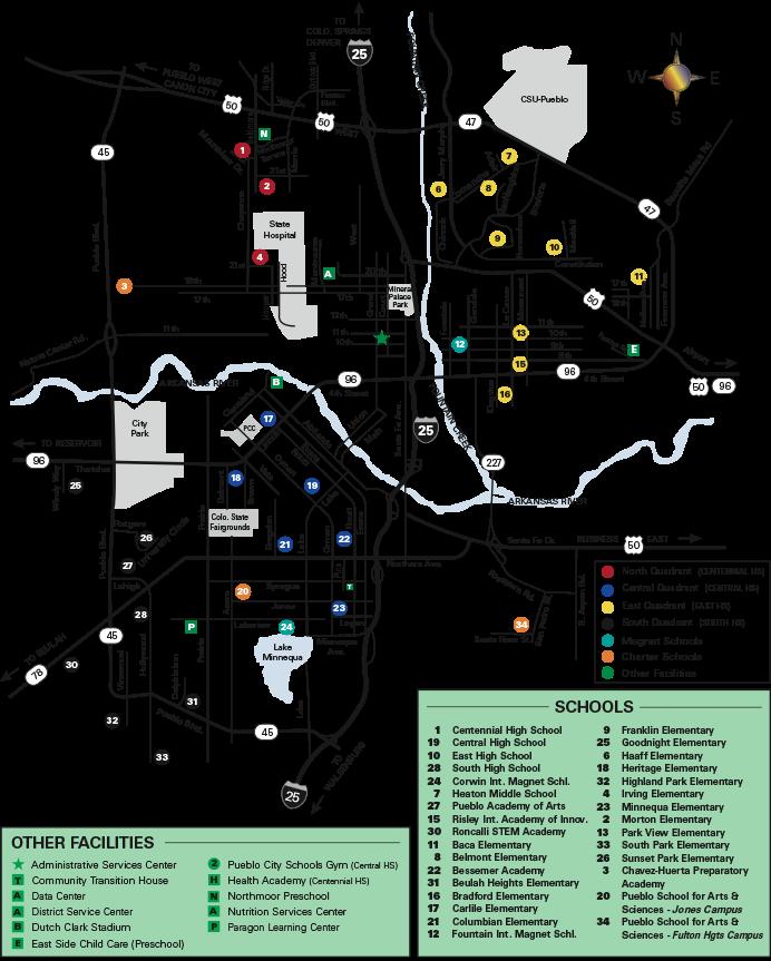 PCS locations map