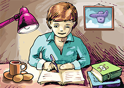 Child studying at home