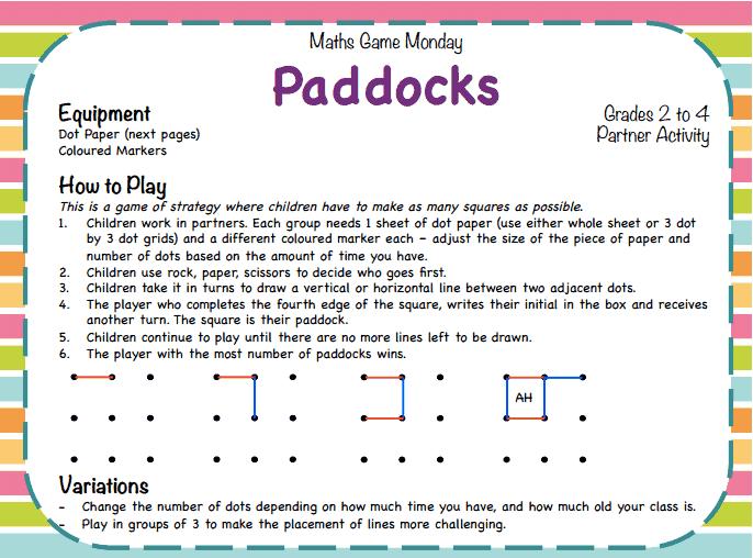 Paddocks classroom games activities