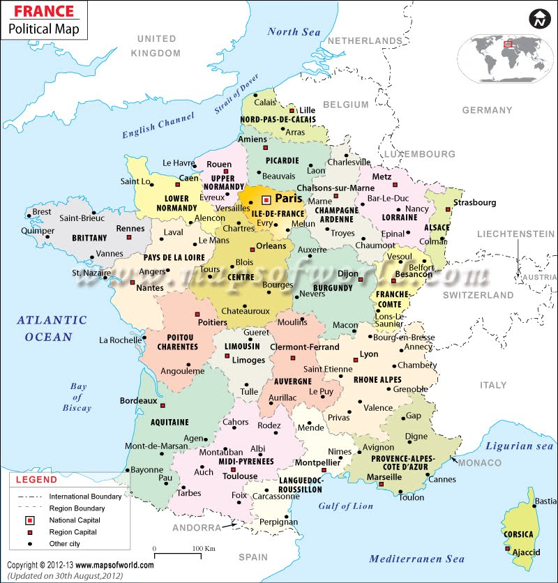 Political Map Brittany France