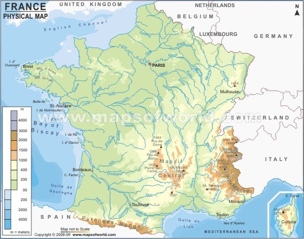France Physical Map Physical Map   Brittany France