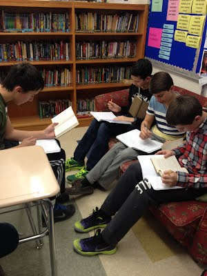 Students reading The Last Lecture looking for textual evidence to help their debate