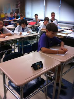 Middle School student attending class from Florida using Facetime.