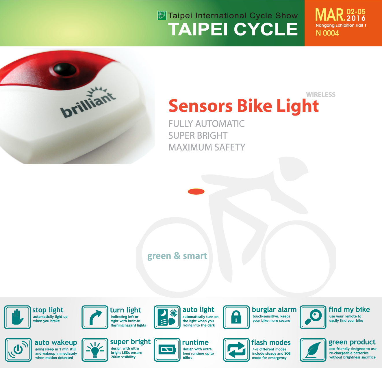 brilliant sensor bike light @ Taipei Cycle Show