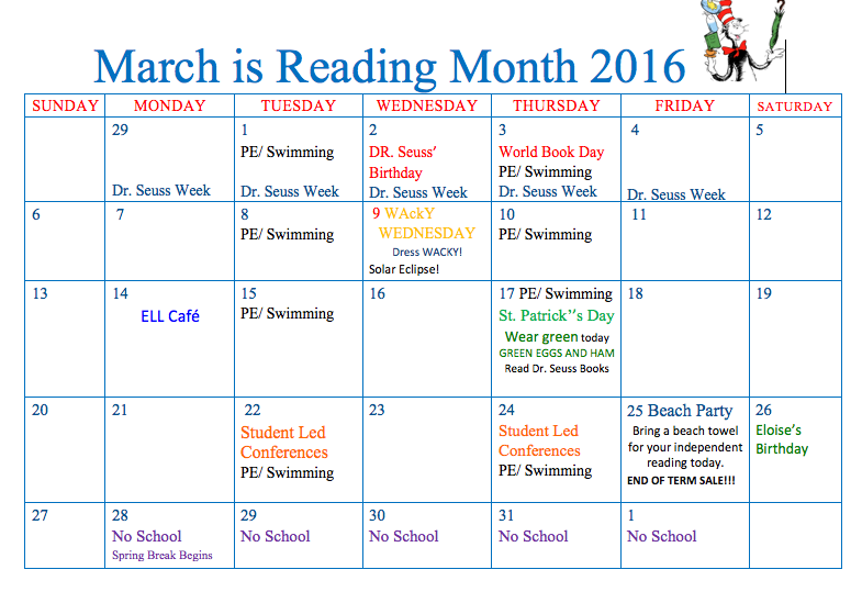 Dr. Seuss Week and I LOVE to Read Month - The RAS Cafe