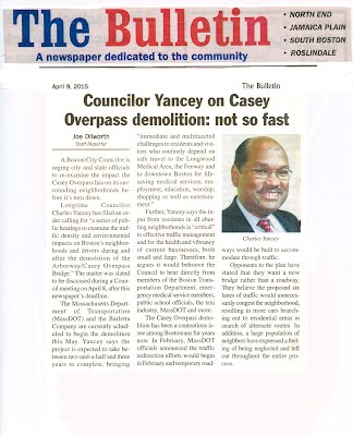 [The Bulletin with headline: Councilor Yancey on Overpass Demolition: not so fast]