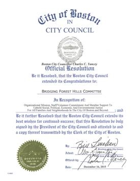[Official City Council Resolution Honoring Bridging Forest Hills]
