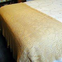 Vintage Hand Crocheted Bedspread