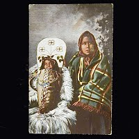 Antique Photo Postcard, Yakima Squaw and Papoose