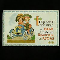 1915 Antique Auto Postcard, If Up Above you were a Star
