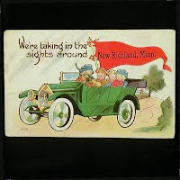 1917 Antique Auto Postcard, We're taking in the sights around Richland, Minn
