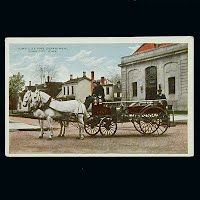 Antique Fire Wagon Postcard, Iowa City Iowa