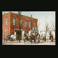 Antique Fire Wagon Postcard, Goshen Indiana