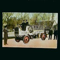 1912 Antique Fire Wagon Postcard, Casper Wyoming