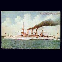 Antique Postcard, US Battleship Kansas