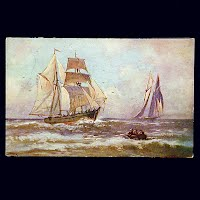 Antique Postcard, Sailing Ships