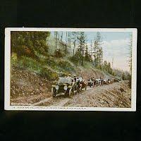 Antique Postcard, Black & Yellow Trail in Ice Box Canon, Black Hills SD