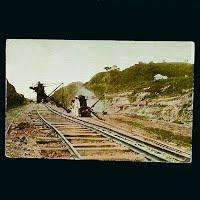 1915 Antique Postcard, Excavators at work at Panama Canal
