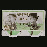 Antique Mechanical Postcard, 1908 Who is Going to Win the Race