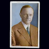 Antique Colored Photo Postcard, President Calvin Coolidge