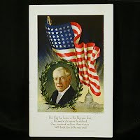 Embossed Antique Postcard, Woodrow Wilson & Flag