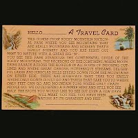 Antique Travel Card Postcard, Rocky Mountain National Park