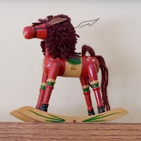Vintage wooden rocking horse christmas ornaments, 1990