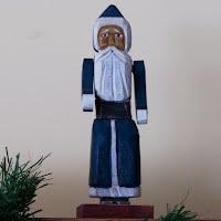 Vintage Blue Wooden Santa