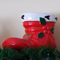 Vintage Red Pottery Santa Boot, 2005