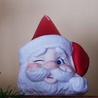 Vintage Ceramic Winking Santa Candle Holder