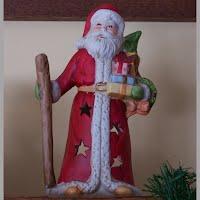 Vintage Cermamic Santa Candle Lantern