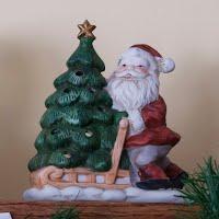 Vintage Ceramic Santa Candle Lantern