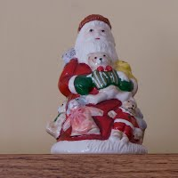 Vintage Ceramic Santa Bell, with Bunny Slippers