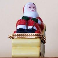 Vintage Porcelain Santa and Sleigh Trinket Box