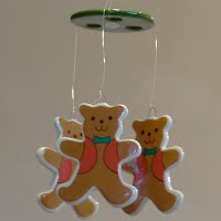 Vintage Bear Wind Chimes or Mobile, Rus Berrie Co