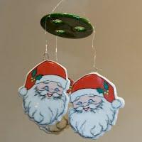 Vintage Santa Wind Chime or Mobile, Rus Berrie Co