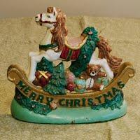 Vintage Cast Iron Christmas Rocking Horse Door Stop