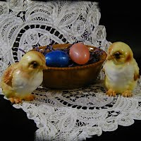Antique Greentown Glass Chocolate Basket with Lefton Chicks