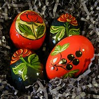 Vintage Wooden Russian Easter Eggs