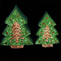 Vintage Sequined Christmas Tree Boxes