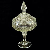 Vintage Clear Large Diamond Point Lidded Compote, LE Smith