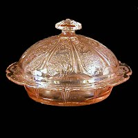 Vintage Depression Glass, Pink Cherry Blossom Butter Dish, Jeannette Glass Co 1930-1939