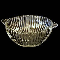 Vintage Clear Depression Glass Ribbed Bowl, 1930's