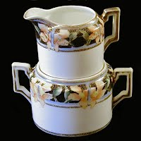 Antique Nippon Stacking Sugar and Cream Set, 1911