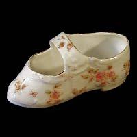 Antique Hand Painted Porcelain Shoe