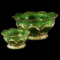 Antique, EAPG, Pressed Glass, Pattern Glass, Early American Pattern Glass, Green Duchess Berry Bowl Set