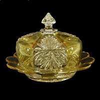 Antique, EAPG, Pressed Glass, Pattern Glass, Early American Pattern Glass, yellow flashed Brilliant Butter Dish