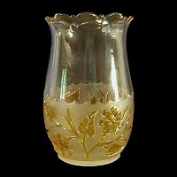 Antique, EAPG, Pressed Glass, Pattern Glass, Early American Pattern Glass, Amber stained on frosted, Leaf and Flower Celery Vase