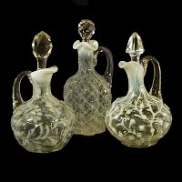 Antique, EAPG, Pressed Glass, Pattern Glass, Early American Pattern Glass, white opalescent, Daisy and Fern Cruet, Seaweed Cruet, Paneled Sprig Cruet