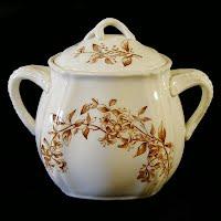 Antique Ironstone Honeysuckle Sugar Bowl, 1910 W M Co